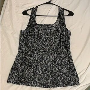 Silver and Black White House Black Market Top